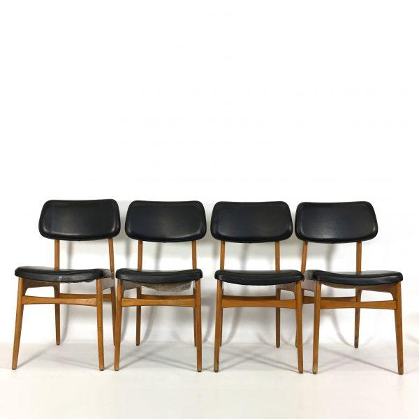 Lot de 4 chaises scandinaves, 1960's.