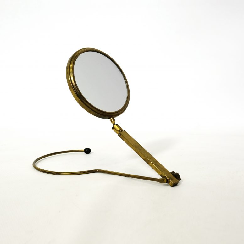 Brass Art Deco mirror, France.