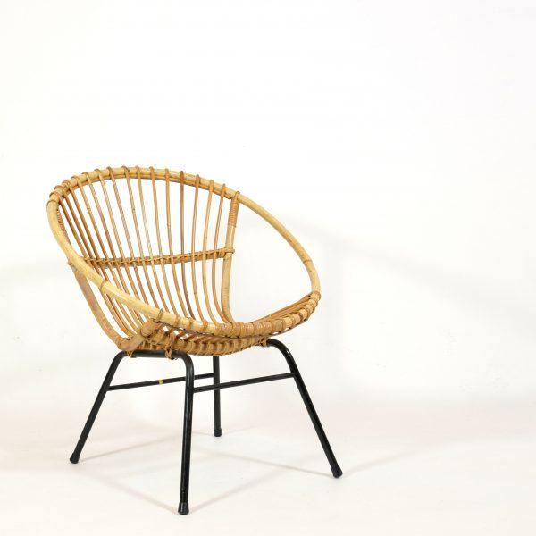 fauteuil en rotin des années 50-60.