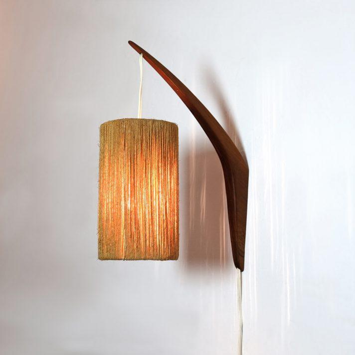 suspension scandinave en bois et corde 1950-1960.