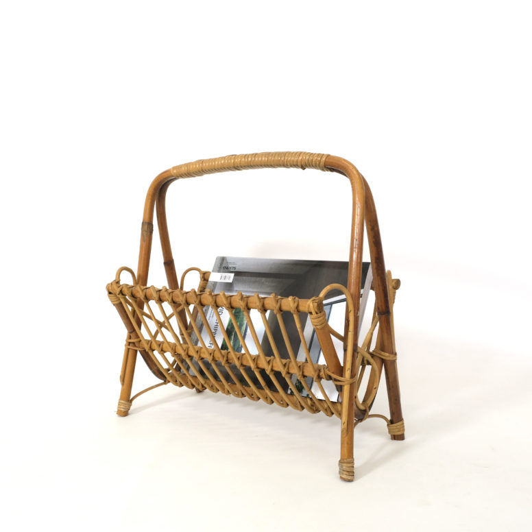 French rattan magazine rack, 1960s.