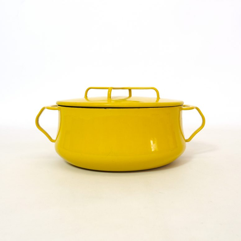 Mid century Kobenstyle Dansk yellow cooking pot from the sixties.