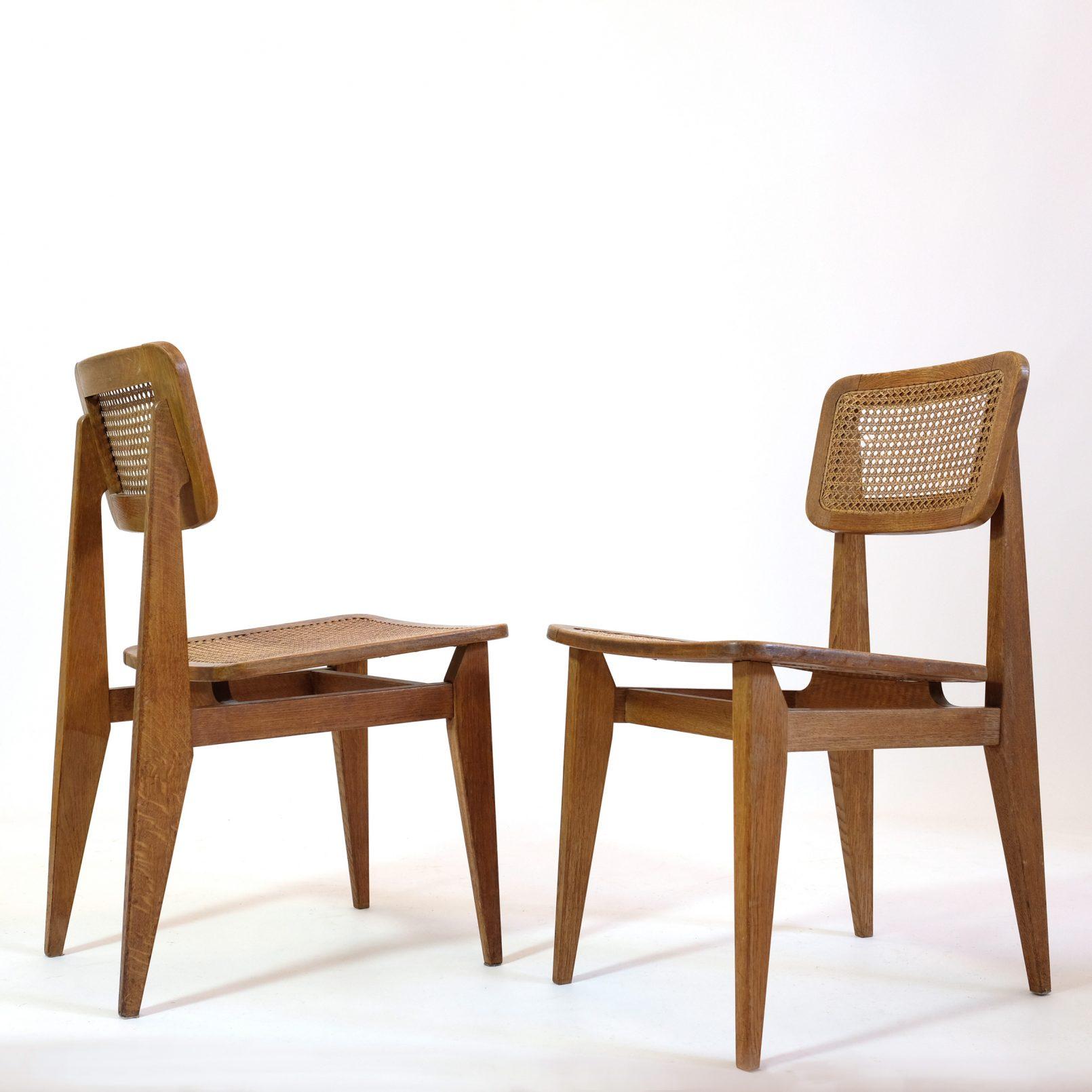 Paire de chaises C cannées, Marcel Gascoin, Arhec, 1950's.