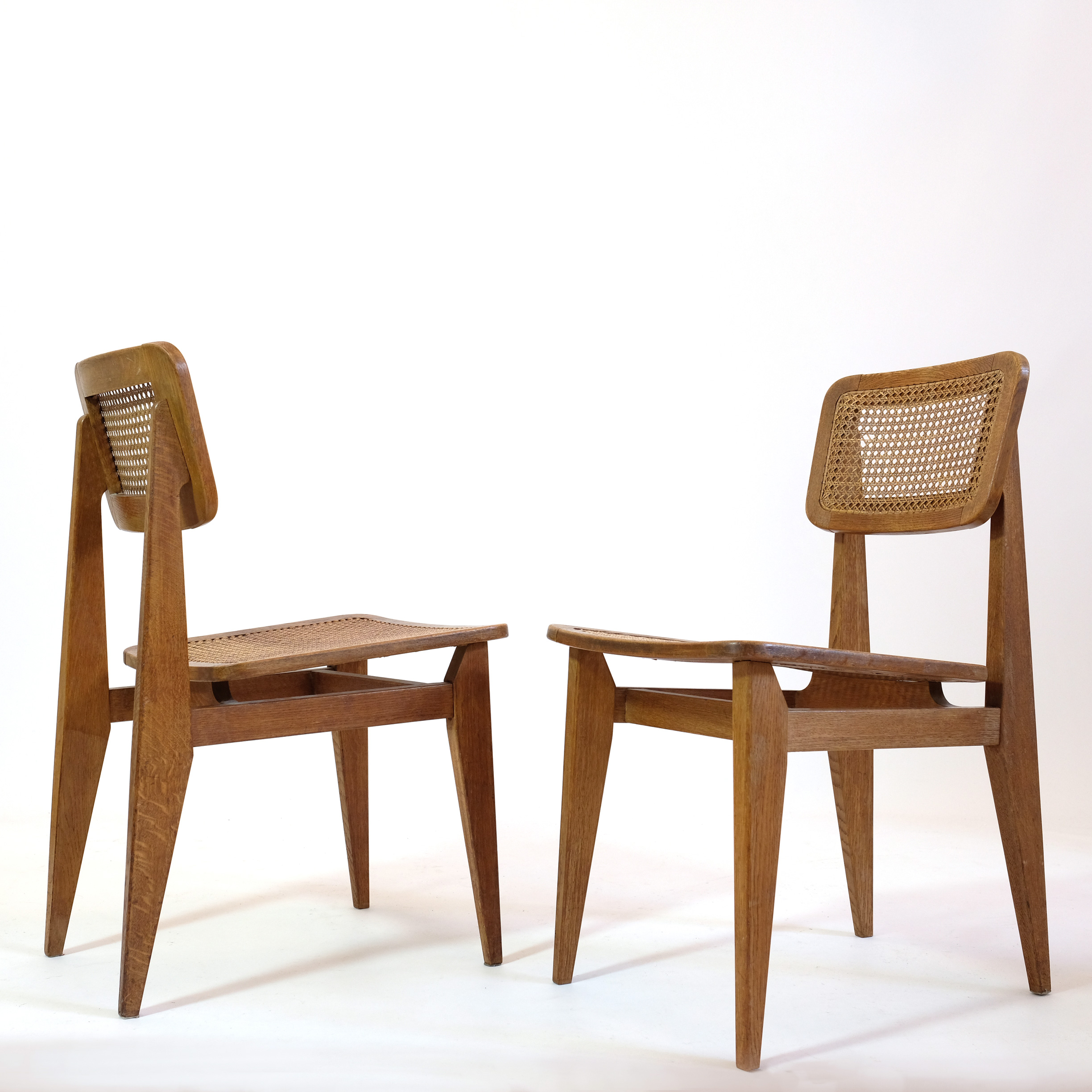 Marcel Gascoin, pair of C cane chairs, ARHEC,1950's.