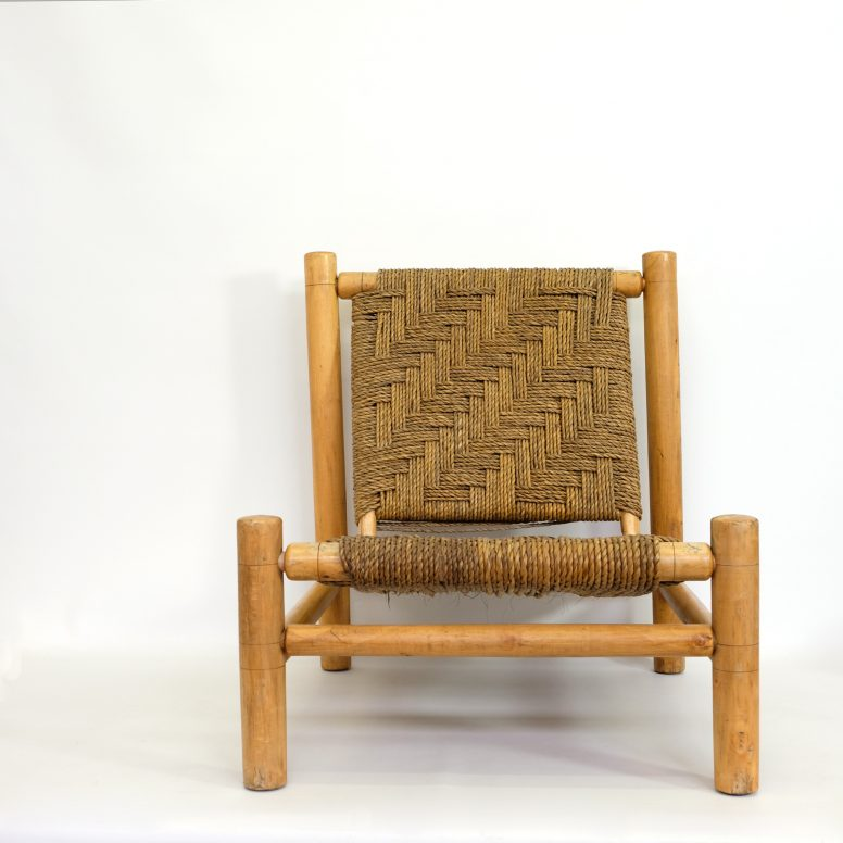 Low chair, wood and rope, France, 1950s.
