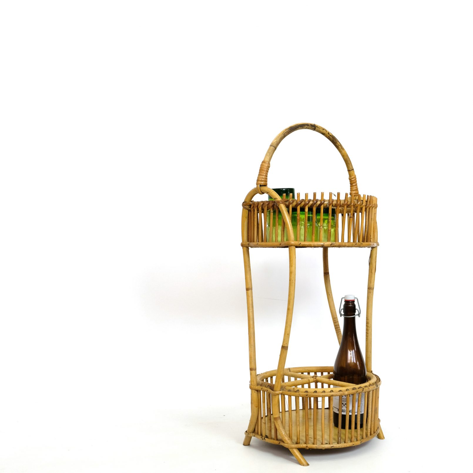 Rattan mobile bar from the 1960s-1970s.