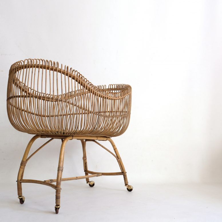 French rattan crib from the fifties.