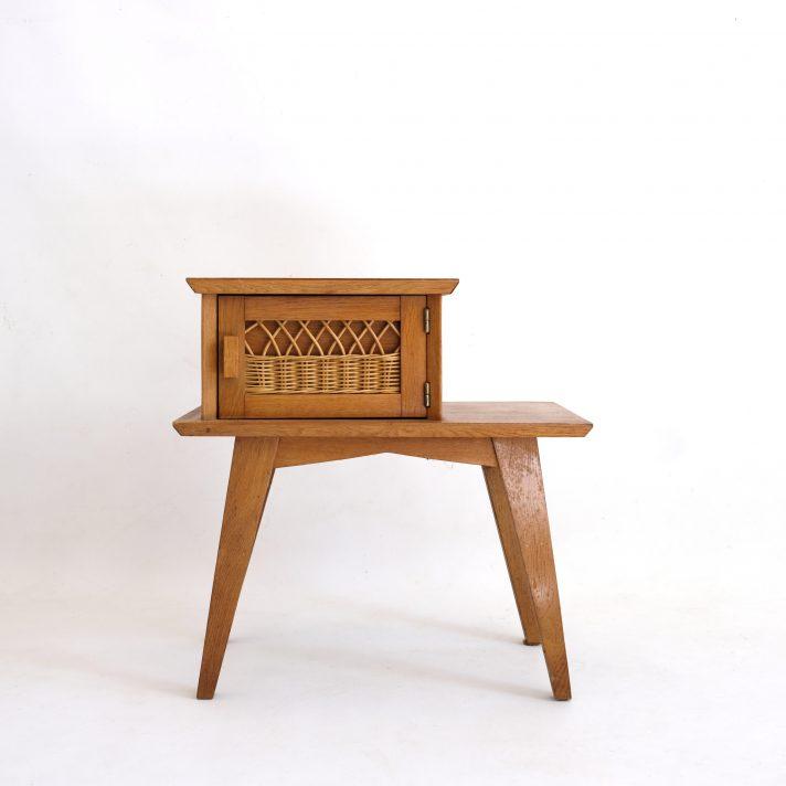 Chevet en bois avec décor rotin, 1950s-1960s.