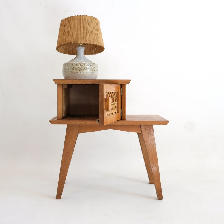 Wooden bedside table with a rattan decor, 1960's-1970s.