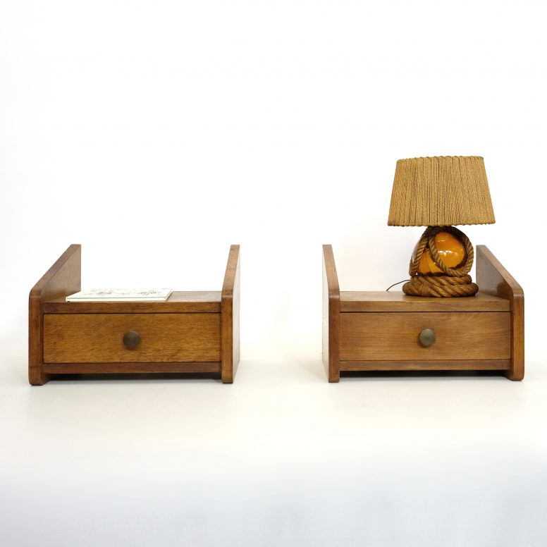 Pair of ravishing wall mounted bedside tables, 1950s-1960s.