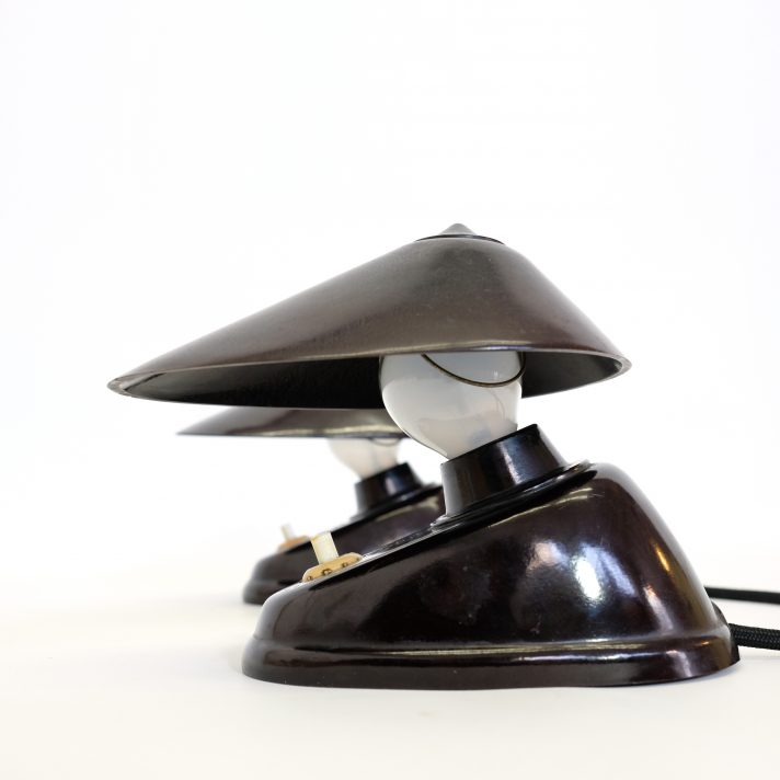 Pair of lamps made of black Bakelite from the thirties.
