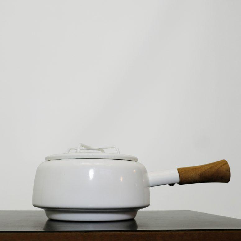 Mid century Kobenstyle Dansk enamel fondue pot with a teak handle.