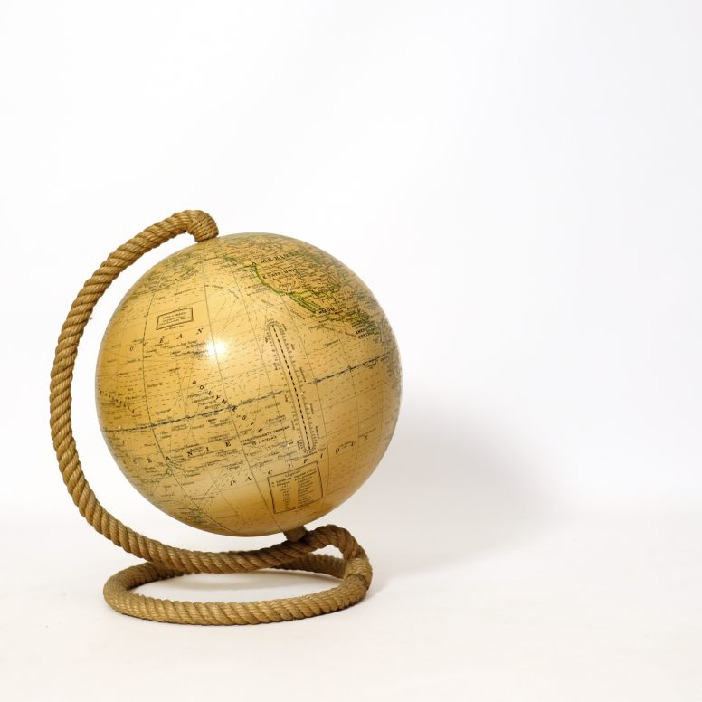 World globe with a rope base from the sixties by Girard et Barrère.
