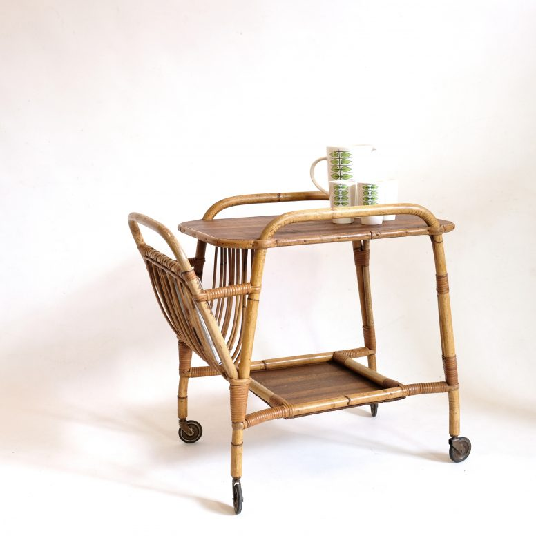Vintage rattan serving trolley from the sixties.