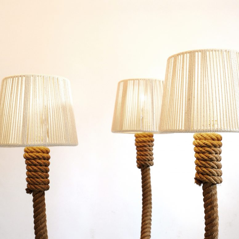 French rope floor lamp from the 1940s-1950s.