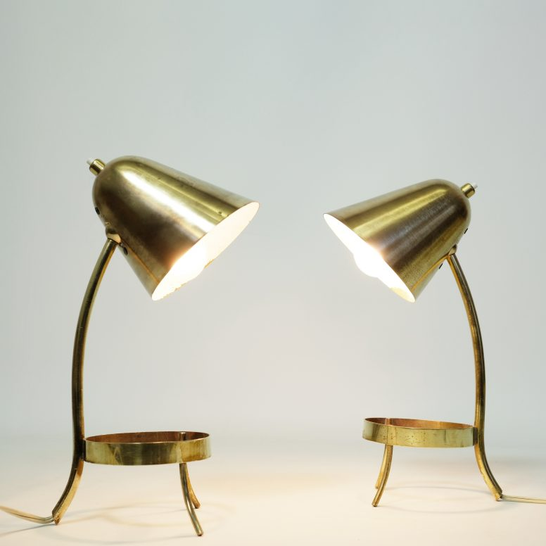 Pair of brass lamps, France, 1950s.