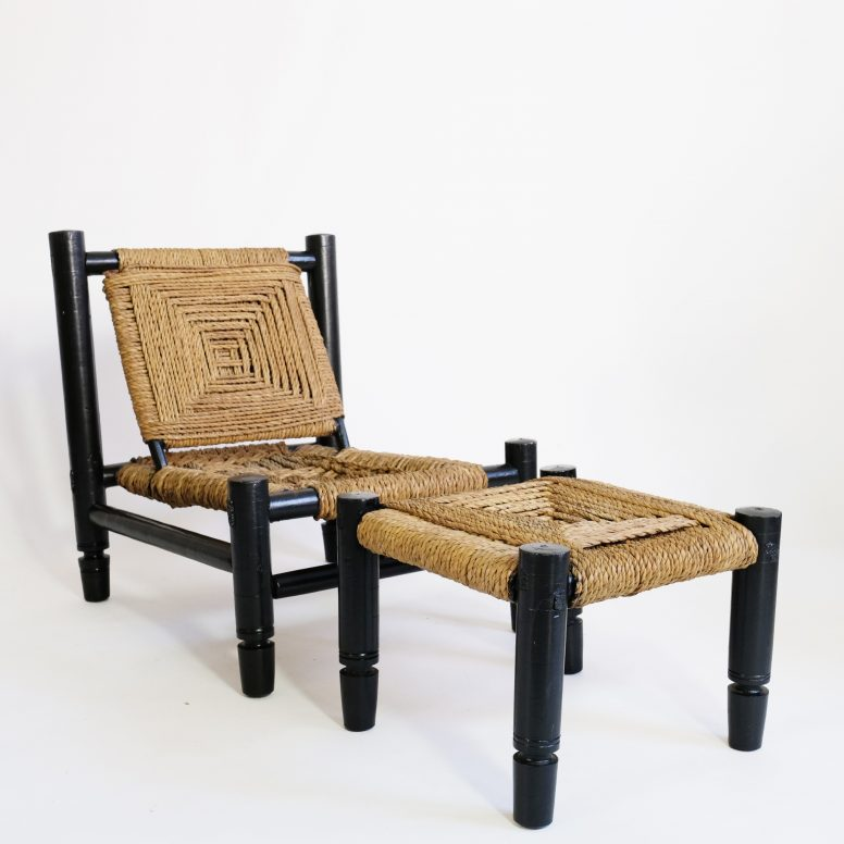 Low chair and footrest, wood and rope, France, 1950s.