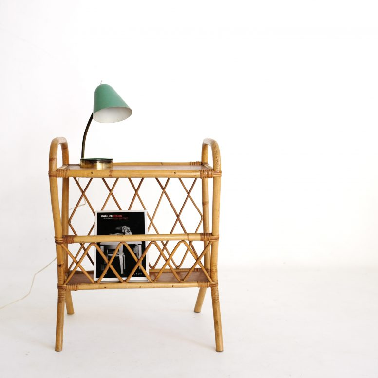 French rattan side table from the 1960s.