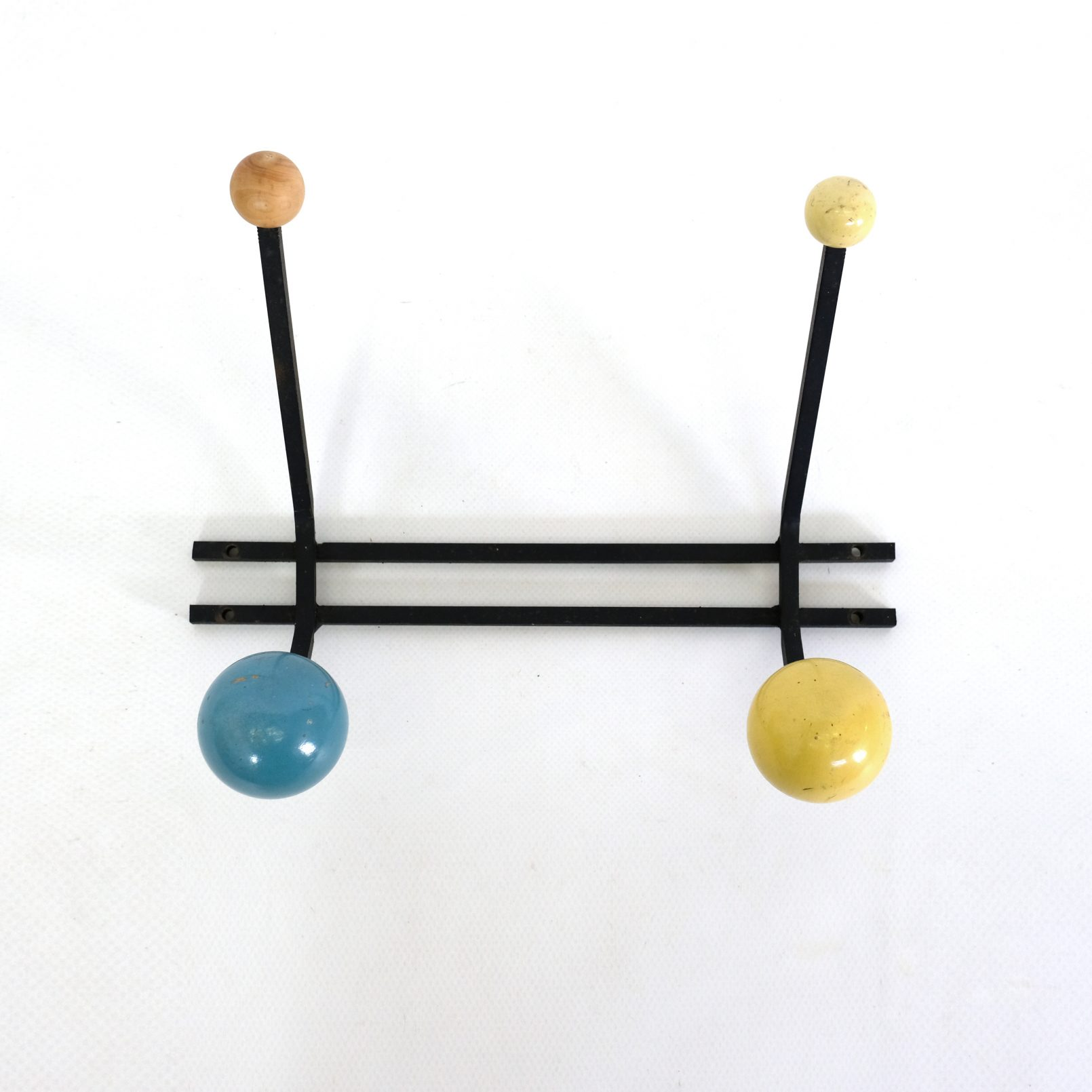 Blue and yellow coat rack from the sixties.