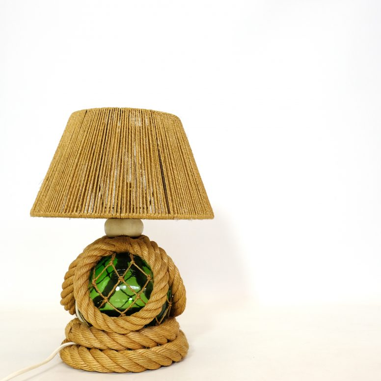 French table lamp, rope and green glass, 1950-1960.