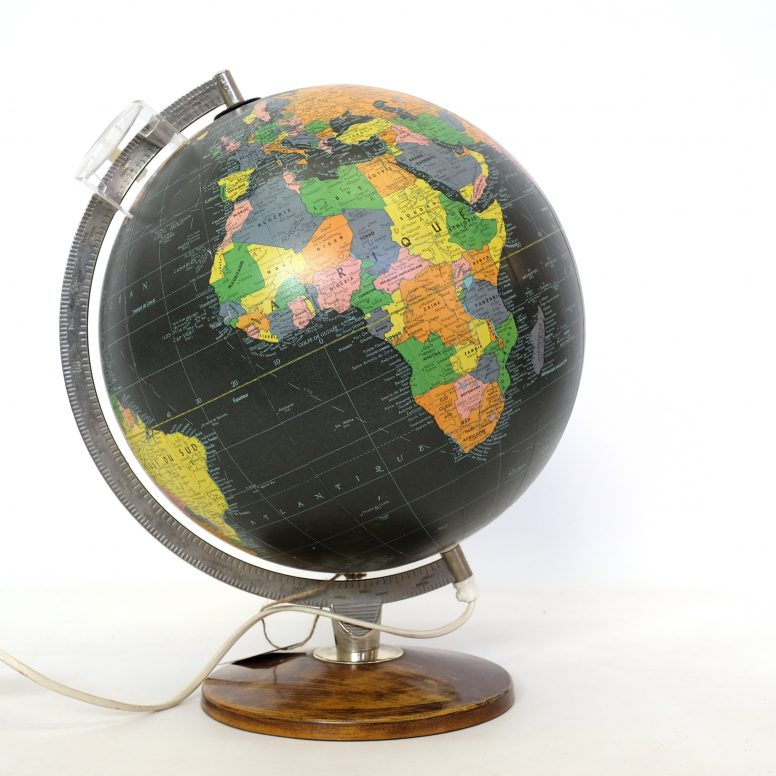 Large world globe produced by Taride in the 1960s-1970s.