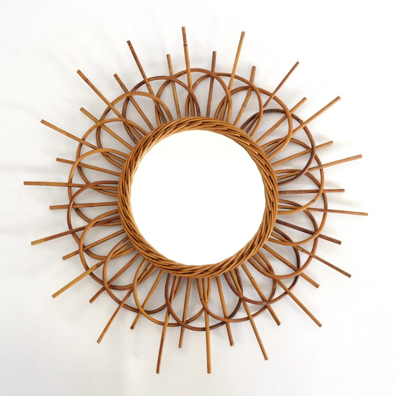 Sun shaped rattan mirror, France, 1960's, 55 cm.
