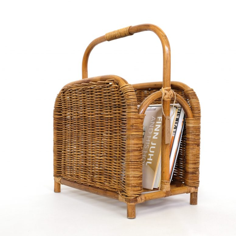 Vintage wicker and rattan magazine holder.