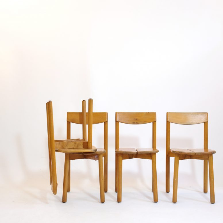 Set of 4 chairs by Pierre Gautier Delaye, Vergnères, 1950s.