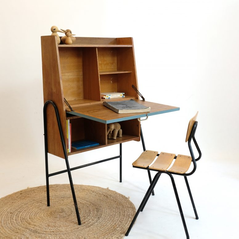 French writing desk with a tubular structure, 1960s.