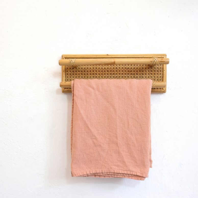 Rattan and wicker towel rack from the seventies.