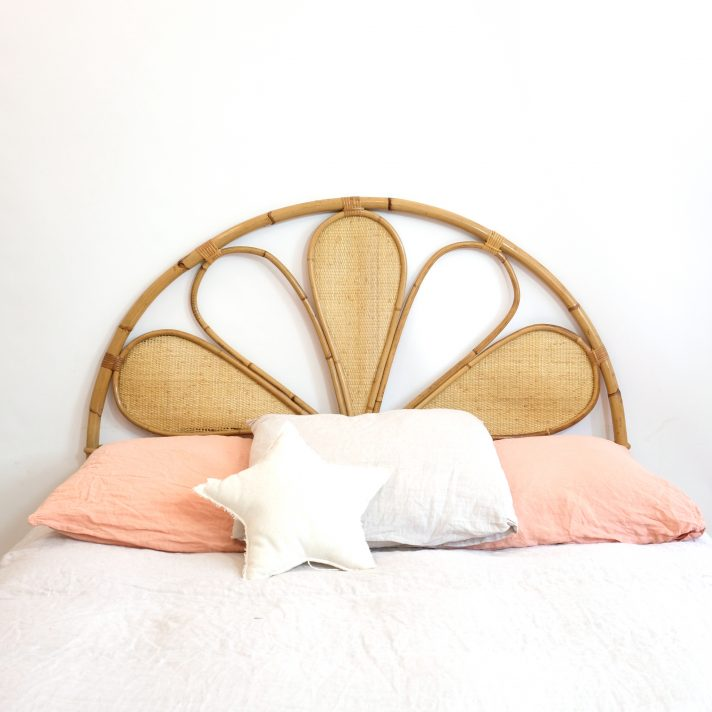 Rattan headboard from the 1960s-1970s.
