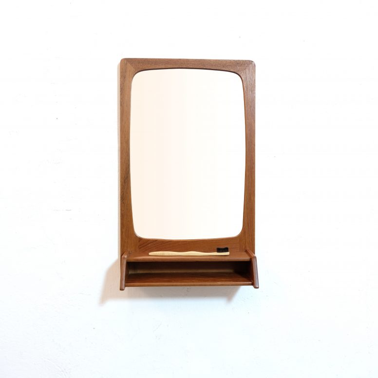 Scandinavian teak mirror with a shelf, 54x33 cm.