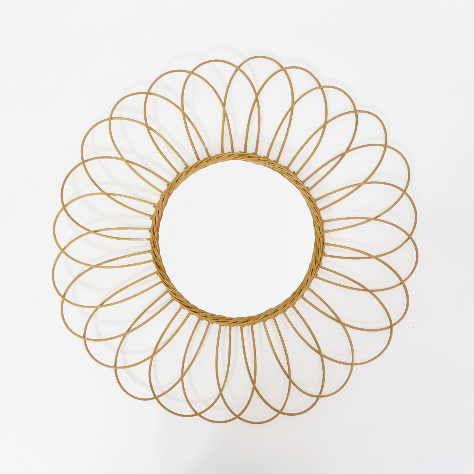 Wicker mirror from the 1960s-1970s, 56 cm.