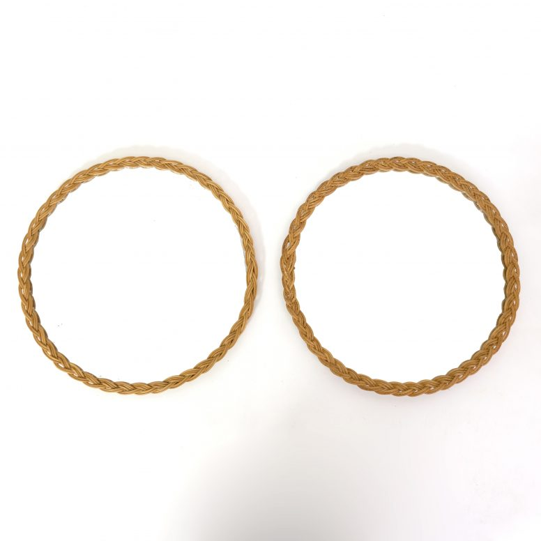 Pair of round wicker mirrors from the seventies.