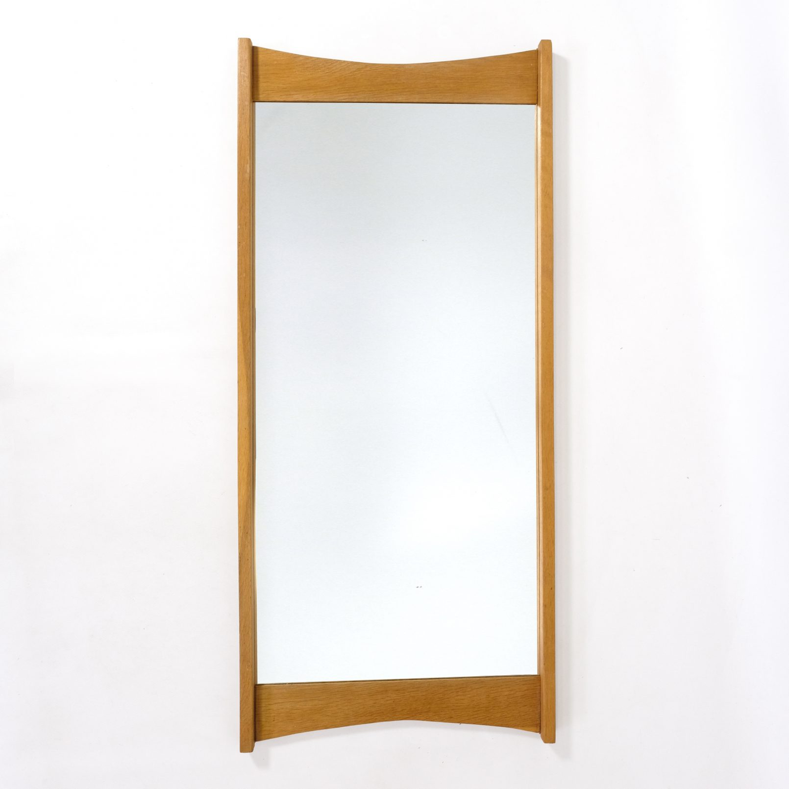 Large oak framed mirror, 95x42cm.