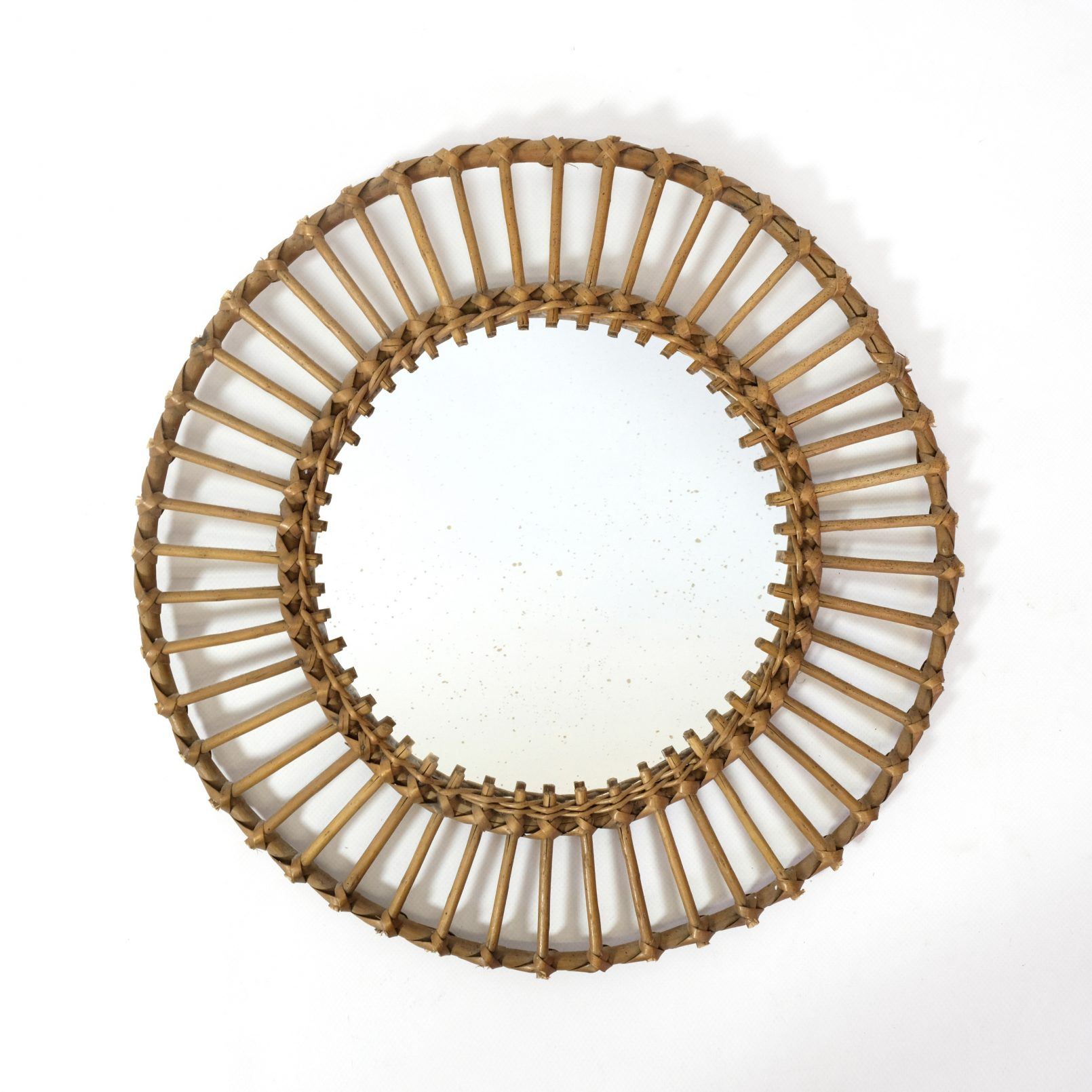 Vintage bamboo sun shaped mirror, 41cm.
