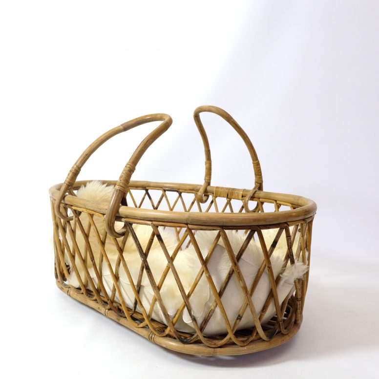 French rattan crib from the 1950s-1960s.