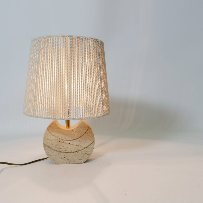 Little travertine table lamp, Italy, 1970s.