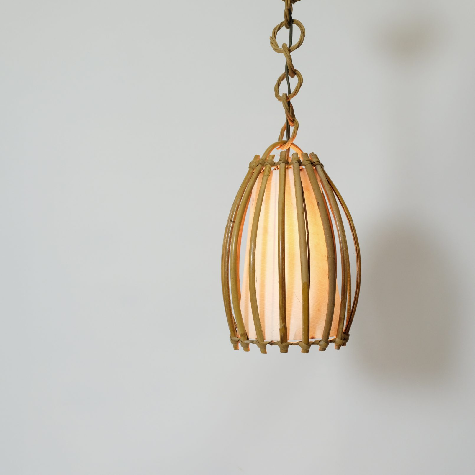 Charming French bamboo pendant from the sixties.