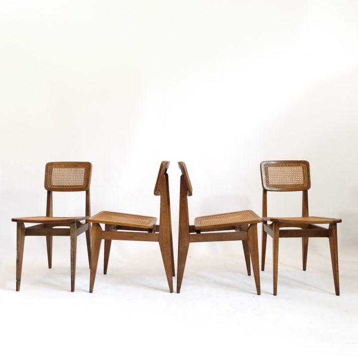 Marcel Gascoin, série de 4 chaises C cannées, Arhec, 1950's.