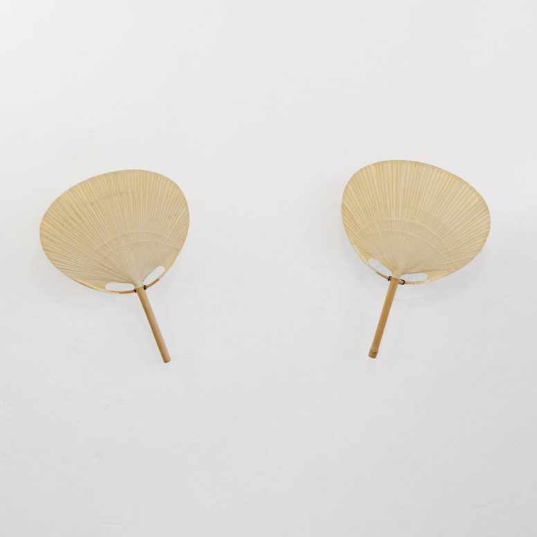 Pair of Uchiwa wall lamps by Ingo Maurer, 1970s.