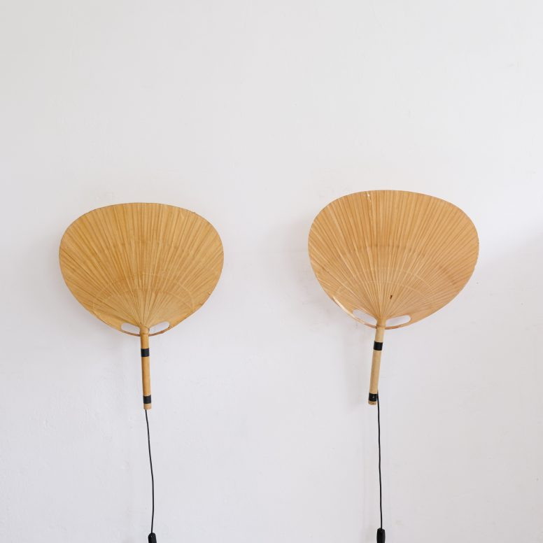 Pair of large Uchiwa wall lamps by Ingo Maurer, 1970s.