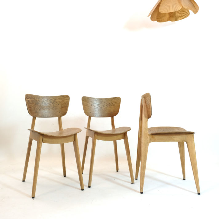 Roger Landault, set of three 6157 chairs from the fifties.