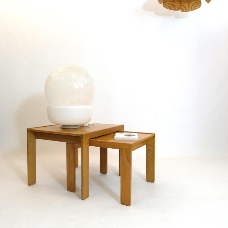 Afra & Tobia Scarpa, two ash nesting tables, circa 1965.