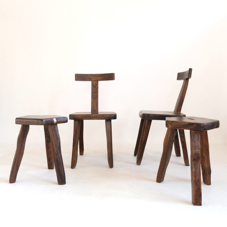 Olavi Hanninen, two chairs and two stools, 1960s.