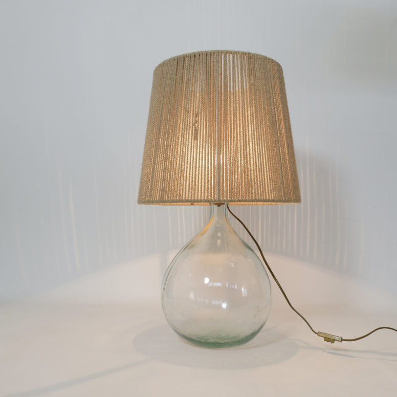 Table lamp from the 1970s-1980s with a rope shade.