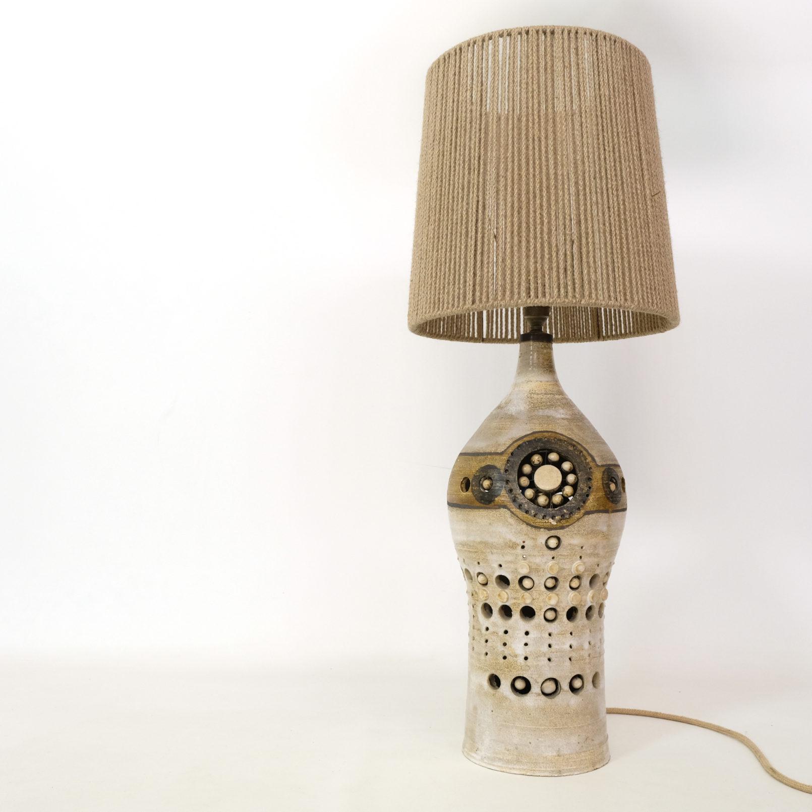 Georges Pelletier, grande lampe de table en céramique.