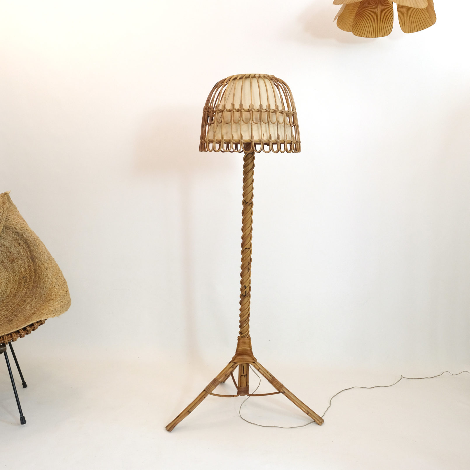 French rattan floor lamp from the 1950s.