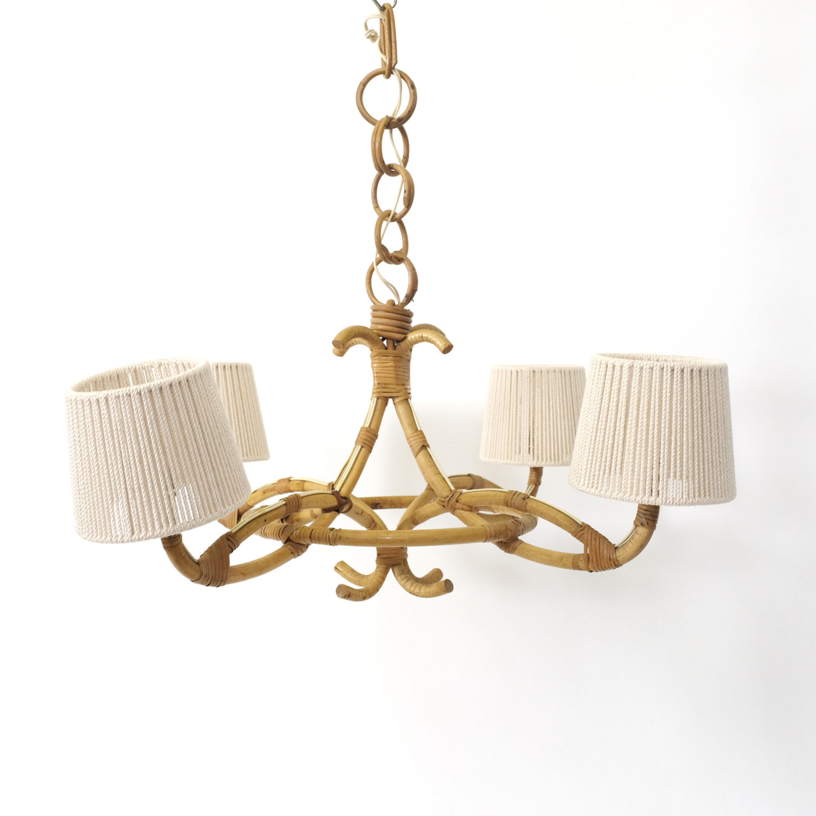 Rattan and rope pendant with 4 lights, 1960-1970.
