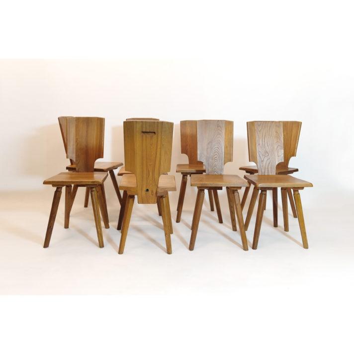 Pierre Chapo, set of eight S28 chairs prototype.